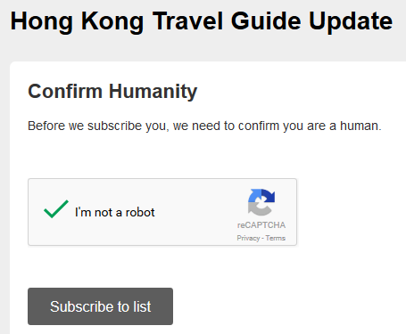travel blog subscription captcha