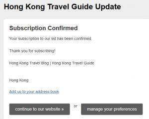 travel blog subscription confirm