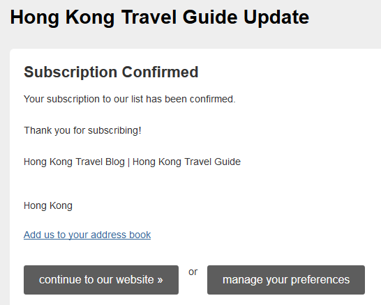 travel blog subscription confirm